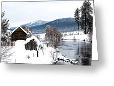 Snow Covered Cabin Greeting Card