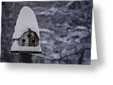 Snow Covered Elf Birdhouse Greeting Card
