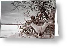 Snow Covered Farming Equipment Greeting Card