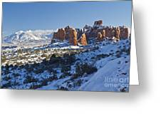 Snow-covered Fins And La Sal Mountains Greeting Card