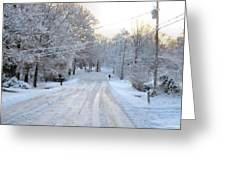 Snow Covered Lane In Paint Greeting Card