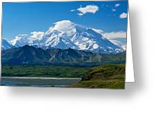 Snow-covered Mount Mckinley, Blue Sky Greeting Card