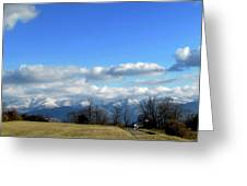 Snow Covered Mountains Greeting Card