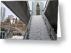 Snow Covered Stairs Greeting Card