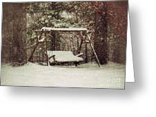 Snow Covered Swing Greeting Card