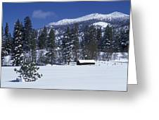 Snow Covered Trees And Cabin At Rock Greeting Card