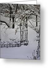 Snow Covered Wisteria Arch Greeting Card