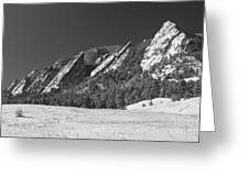Snow Dusted Flatirons Boulder Co Panorama Bw Greeting Card