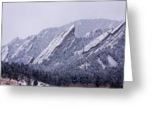 Snow Dusted Flatirons Boulder Colorado Greeting Card