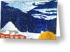 snow falling on Istanbul Greeting Card