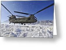 Snow Flies Up As A U.s. Army Ch-47 Greeting Card