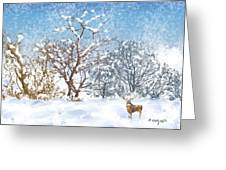 Snow Flurry Greeting Card by Arline Wagner