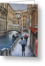 Snow Flurry In Venice Greeting Card