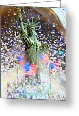 Snow Globe Liberty Greeting Card