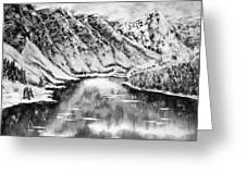 Snow In November Black And White Greeting Card