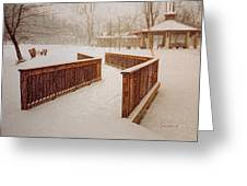 Snow In The Park 3d Greeting Card