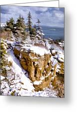 Snow In The Park Acadia Maine Greeting Card