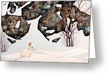 Snow Ledges Rabbit Greeting Card