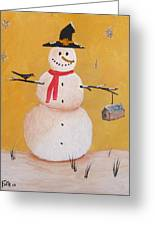 Snow Man And Bird House Greeting Card