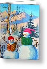 Snow Mom And Son Greeting Card
