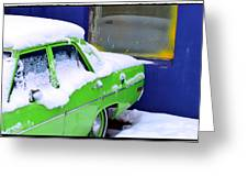 Snow On Car Greeting Card
