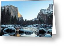 Snow On Large Rocks With El Capitan In The Background Greeting Card
