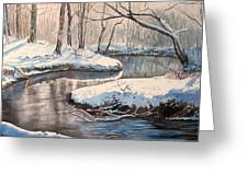 Snow On Riverbank Greeting Card