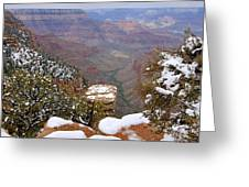 Snow On The Grand Canyon Greeting Card