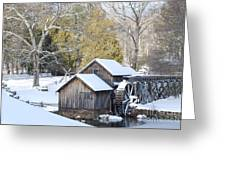 Snow On The Mill Greeting Card