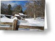 Snow On The Old Time Mill Greeting Card