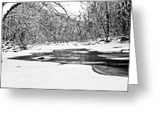 Snow On The Stream Greeting Card