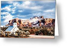 Snow On The Superstitions Greeting Card