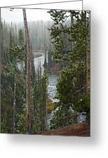 Snow On The Yellowstone River Greeting Card