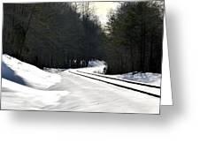 Snow On Tracks Greeting Card