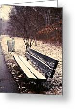 Snow Park Bench Greeting Card