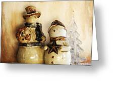 Snow People In Love Greeting Card