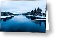 Snow River Horizon Greeting Card