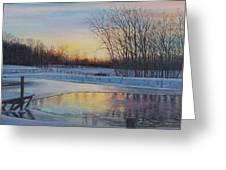 Snow Scene At Sunset Greeting Card