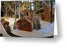 Snow Scene With Train Greeting Card