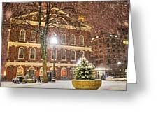 Snow Storm In Faneuil Hall Quincy Market Boston Ma Greeting Card
