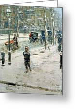 Snow Storm On Fifth Avenue Greeting Card