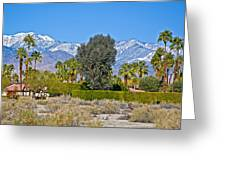 Snow-topped Mountains From Tahquitz Canyon Way In Palm Springs-california  Greeting Card