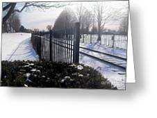 Snow Tracks At Waterfront Park Greeting Card