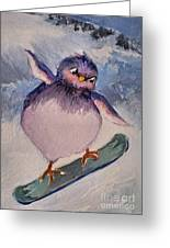 Snowboard Bird Greeting Card by Diane Ursin