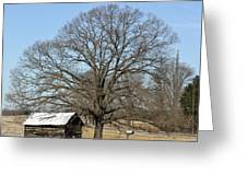 Snowcapped Tobacco Shed Greeting Card