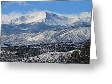 Snowcovered Pikes Peak Greeting Card