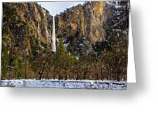 Snowfall Bridalveil Falls Greeting Card
