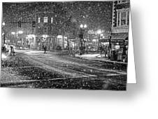 Snowfall In Harvard Square Cambridge Ma 2 Black And White Greeting Card