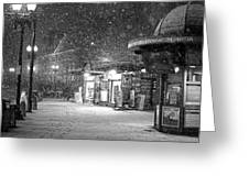 Snowfall In Harvard Square Cambridge Ma Kiosk Black And White Greeting Card