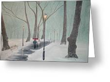 Snowfall In The Park Greeting Card